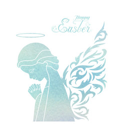 happy easter card with angel vector image