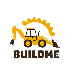 logo backhoe loader orange construction equipment vector image