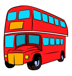 London double decker red bus icon cartoon vector