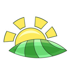 Morning sunrise icon cartoon style vector