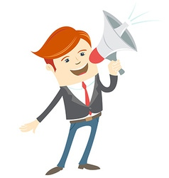 Office man megaphone shouting vector