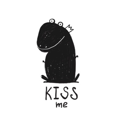 Prince frog kiss me black and white drawing vector