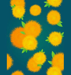 seamless texture with yellow dandelions on a dark vector image