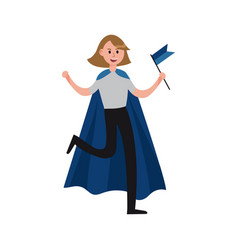 Smiling sports fan girl wearing blue cape vector