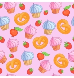 Sweet pattern cakes on pink background seamless vector