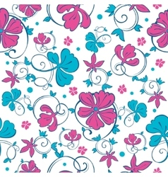 Swirly vibrant flowers seamless pattern vector
