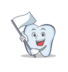 tooth character cartoon style with flag vector image vector image