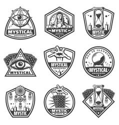 vintage monochrome mystic labels set vector image