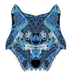 wolf head zentangle stylized vector image vector image