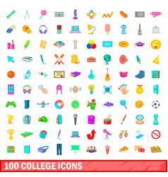 100 college icons set cartoon style vector image