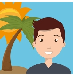 Man sun palm travel vector