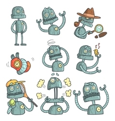 Blue robot set of cartoon outlines portraits vector