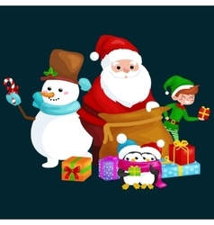 Santa claus sack full of gifts snowman candy vector