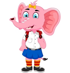 Funny female elephant cartoon going to school vector