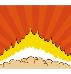 Boom comic book explosion background with sun vector
