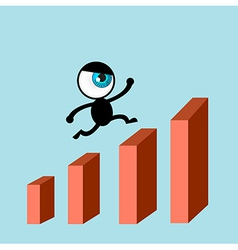 The blue eye run on bars graph vector image