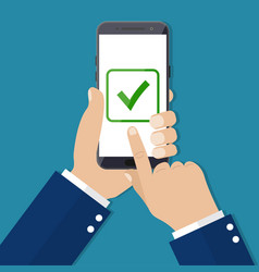 Checkboxes on smartphone screen vector