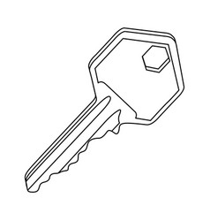 silhouette realistic metal key icon design vector image