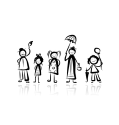 Family walking sketch for your design vector image
