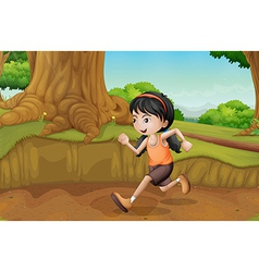 A kid running at the forest vector