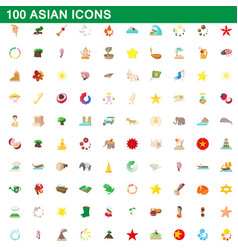 100 asian icons set cartoon style vector image