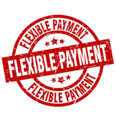 Flexible payment round red grunge stamp vector