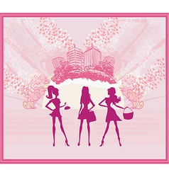 Fashion girls shopping background vector