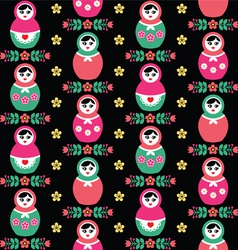 Russian doll matryoshka folk seamless pattern vector