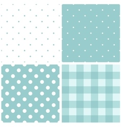 Tile blue and white pattern set with polka dots vector
