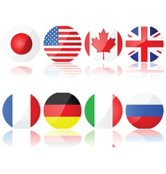 Buttons with g8 countries vector