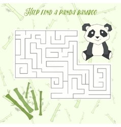 Labyrinth maze find a way panda layout for game vector