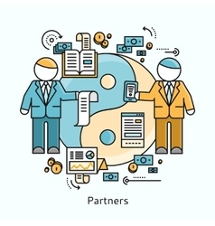 Partners icon flat design concept vector