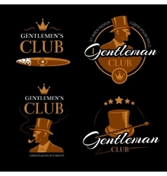 Pipe mens club gentlemen logos set vector