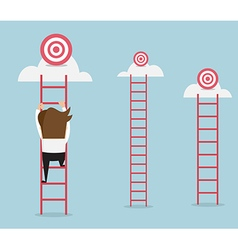 Businessman climbing the ladder for target vector