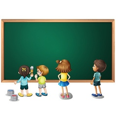 Children painting on the blackboard vector image