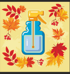 autumn agricultural icons with autumn leaves 10 vector image vector image