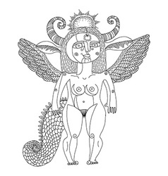 Black and white of mystic creature nude wom vector