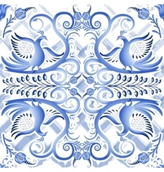 Blue seamless light pattern in ethnic style gzhel vector