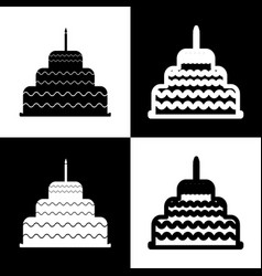 Cake with candle sign black and white vector