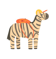 Cute cartoon zebra in yellow can and with backpack vector