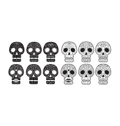 day of the dead skull set vector image