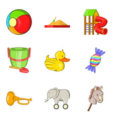 delightful toy icons set cartoon style vector image vector image