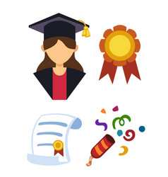 graduation woman silhouette uniform avatar vector image vector image