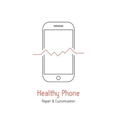 healthy phone logotype with outline smartphone vector image vector image