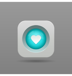 Heart button vector image vector image