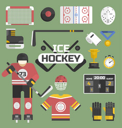 Hockey sport icons equipment and player design vector