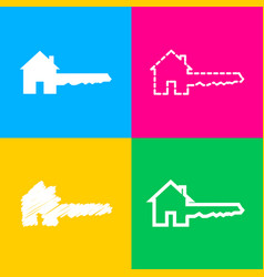 Home key sign four styles of icon on four color vector