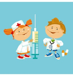 Kid play doctor in white robe vector
