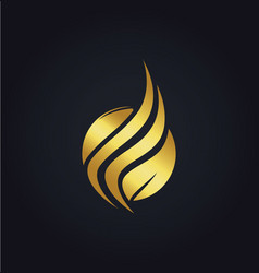 leaf organic wave gold logo vector image