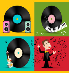 lp - vinyl record discs with speakers piano vector image
